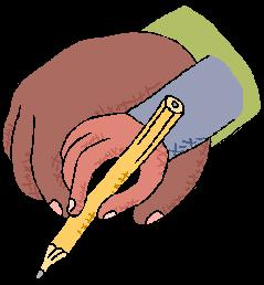 adult hand helping child write